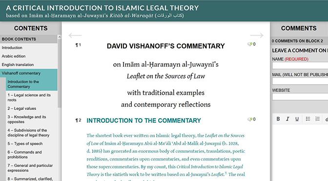 Free online textbook on Islamic legal theory offers a critical reading of al-Juwaynī's <em>Waraqāt</em>