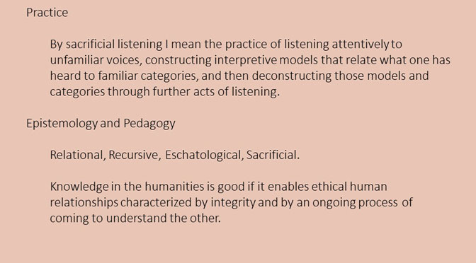 Sacrificial Listening: An Epistemology and Pedagogy for Intellectual Humility in the Humanities